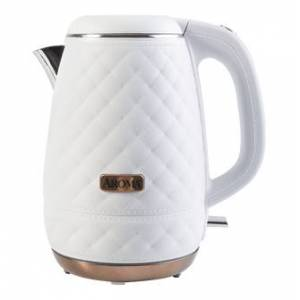 AROMA Double Wall 316 Premium Grade Stainless Steel Electric Water Kettle White 1.2L AWK-3000  - Size: 1