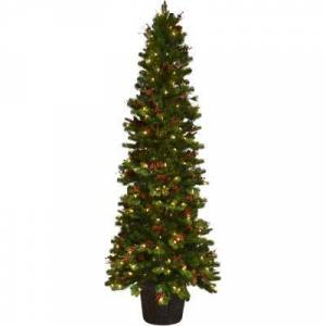Fraser Hill Farm 84 in. Christmas Northwood Potted Tree Decor with LED Lights