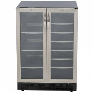 Danby 23.81 in. Silhouette 27-Bottle Wine and 60-Can Built In Beverage Cooler, Silver