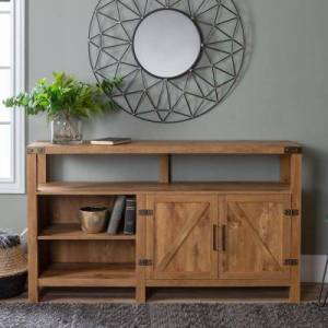 Walker Edison Furniture Company 58 in. Barnwood TV Stand 65 in. with Adjustable Shelves