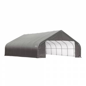 ShelterLogic 28 ft. W x 24 ft. D x 20 ft. H Steel and Polyethylene Garage Without Floor in Grey with Corrosion-Resistant Frame, Grays
