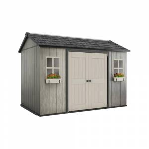Keter My Shed 11 ft. x 7.5 ft. Fully Customizable Storage Shed, Grays