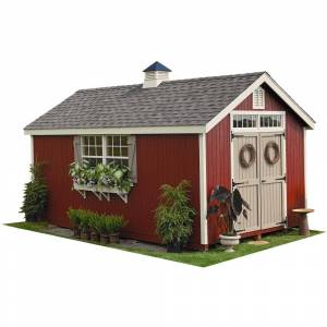 LITTLE COTTAGE COMPANY Colonial Williamsburg 12 ft. x 18 ft. Wood Storage Shed DIY Kit with Floor Kit, Browns / Tans