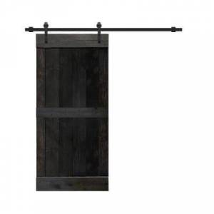 CALHOME 24 in. x 84 in. Distressed Mid-Bar Series Charcoal Black Solid with Hardware Kit Pine Wood Interior Sliding Barn Door