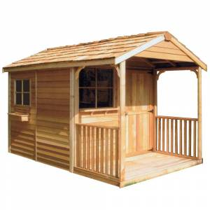 Cedarshed Clubhouse 8 ft. 9 in x 16 ft. 10 in. Western Red Cedar Garden Shed, Browns / Tans