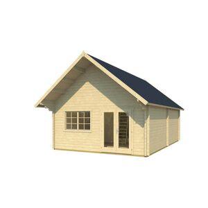 HUD-1 EZ BUILDINGS Metra 16 ft. x 24 ft. x 14 ft. Log Cabin Style Studio Guest Hobby Work Space Pool House Building Kit, Beige / Cream