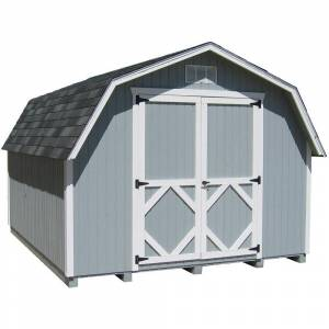 LITTLE COTTAGE CO. Classic Gambrel 12 ft. x 14 ft. Wood Storage Building DIY Kit with 4 ft. Sidewalls with Floor, Browns / Tans