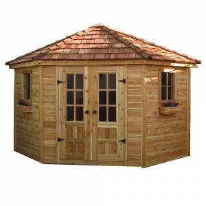 Outdoor Living Today 9 ft. x 9 ft. Penthouse Cedar Garden Shed, Browns / Tans