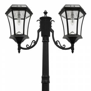 GAMA SONIC Victorian Bulb Series 2-Head Black Solar Lamp Post with GS Solar LED Light Bulb