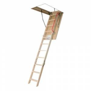 Fakro LWP 8 ft. 11 in., 22.5 in. x 47 in. Insulated Wood Attic Ladder with 300 lb. Load Capacity Type IA Duty Rating