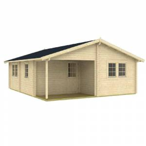 EZ Log Structures 24.25 ft. D x 20.08 ft. W Wood Log Hobby Workshop Office Extra Space Storage Building, Browns / Tans