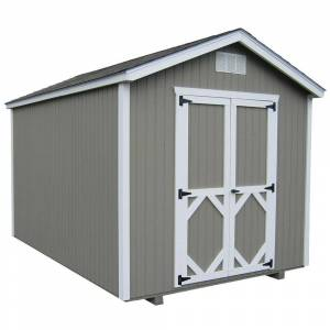 LITTLE COTTAGE CO. Classic Gable 10 ft. x 14 ft. Wood Storage Building DIY Kit with Floor, Browns / Tans