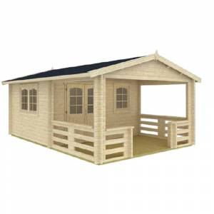 EZ Log Structures Montana 12 ft. 5 in. x 18 ft. 10 in. Log Garden House with 12 ft. 5 in. x 7 ft. Porch, Browns / Tans