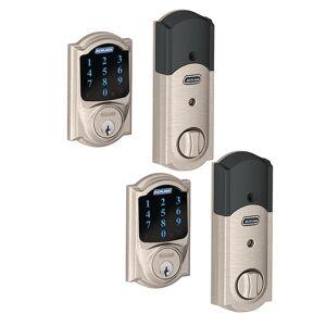 Schlage Camelot Satin Nickel Connect Smart Door Lock with Alarm (2-Pack)