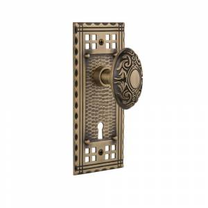 Nostalgic Warehouse Craftsman Plate with Keyhole 2-3/4 in. Backset Antique Brass Passage Hall/Closet Victorian Door Knob