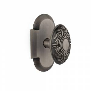 Nostalgic Warehouse Cottage Plate 2-3/8 in. Backset Antique Pewter Privacy Bed/Bath Victorian Door Knob