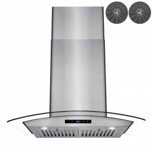 AKDY 30 in. Convertible Wall Mount Range Hood in Stainless Steel with Tempered Glass, Touch Control and Carbon Filters, Silver