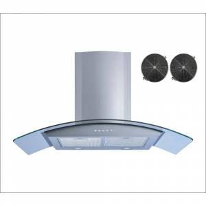 Winflo 36 in. Wall Mount Convertible Range Hood in Stainless Steel and Glass with Illuminated Push Button and Carbon Filters, Silver