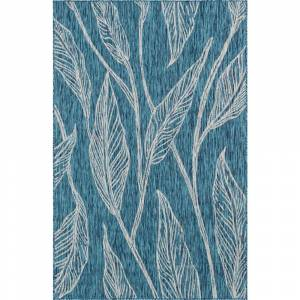 Unique Loom Outdoor Leaf Teal 8 ft. x 11 ft. Area Rug, Teal/Gray