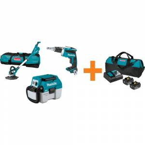 Makita 18-Volt LXT Brushless Drywall Screwdriver, 9 in. Drywall Sander and 2 Gal. Vacuum with bonus 18V LXT Starter Pack