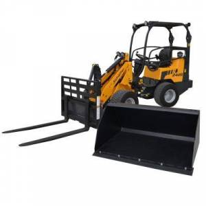 DFD LOADERS INC Compact Articulated Wheel Loader with Pallet Fork and 48 in. Light-Material All-Purpose Bucket