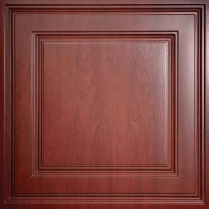 Ceilume Stratford Faux Wood-Cherry Feather-Light 2 ft. x 2 ft. Lay-In Ceiling Tile (160 sq. ft. / case)