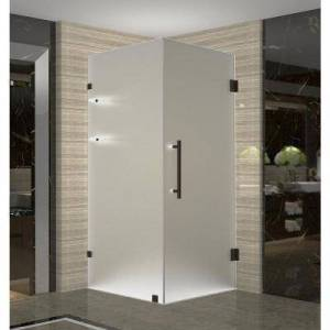 Aston Aquadica GS 38 in. x 38 in. x 72 in. Frameless Corner Hinged Shower Door with Frosted Glass and Shelves in Bronze