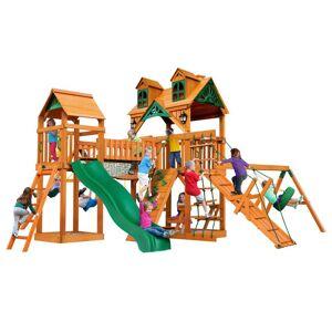 Gorilla Playsets Pioneer Peak Wooden Swing Set with Malibu Wood Roof and Clatter Bridge