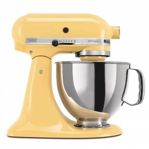 KitchenAid Artisan 5 Qt. 10-Speed Majestic Yellow Stand Mixer with Flat Beater, Wire Whip and Dough Hook Attachments