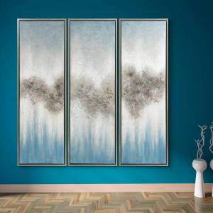 Empire Art Direct Abstract Triptych Set Textured Metallic Hand Painted by Martin Edwards Framed Canvas Wall Art, Silver