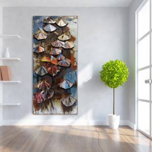 """EMPIRE ART DIRECT LLC 80 in. x 36 in. """"Umbrellas"""" Mixed Media Iron Hand Painted Dimensional Wall Art, Multi Color"""