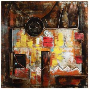 "EMPIRE ART DIRECT LLC 48 in. x 48 in. ""Abstraction 1"" Mixed Media Iron Hand Painted Dimensional Wall Art, Multi Color"