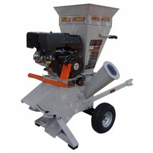 Brush Master 5.25 x 3.5 in. 420cc Self Feed Gas Chipper Shredder with 120V Electric Start, Unique 3-in-1 Discharge, Gloves, Goggles