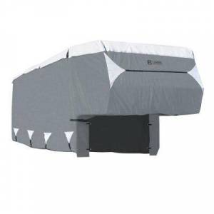 Classic Accessories OverDrive PolyPRO 3 354 in. L x 102 in. W x 116 in. H Deluxe 5th Wheel or Toy Hauler Cover, Grey/Snow White
