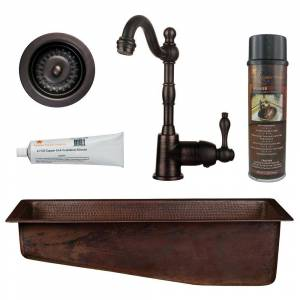 Premier Copper Products All-in-One Dual Mount Copper 28 in. Slanted Bar/Prep Sink with Faucet and Strainer Drain in Oil Rubbed Bronze