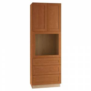 Home Decorators Collection Hargrove Assembled 33x90x24 in. Plywood Shaker Oven Kitchen Cabinet Soft Close in Stained Cinnamon, Cinnamon Stain