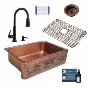SINKOLOGY Ganku All-in-One Farmhouse Apron-Front Copper 33 in. Single Bowl Kitchen Sink with Pfister Bronze Faucet and Strainer, Antique Copper