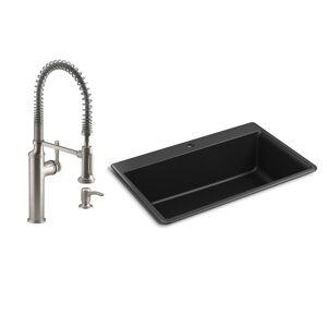 KOHLER Kennon Drop-in/Undermount Granite Composite 33 in. Single Bowl Kitchen Sink with Sous Kitchen Faucet in Matte Black