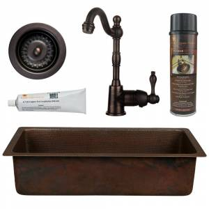 Premier Copper Products All-in-One Dual Mount Copper 28 in. Single Bowl Bar/Prep Sink with Faucet and Strainer Drain in Oil Rubbed Bronze