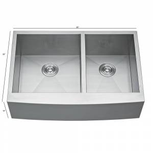 MM CASA INC Farmhouse 30 in. 2-Hole 30/20 Double Bowl Kitchen Stainless Steel Sink, Silver