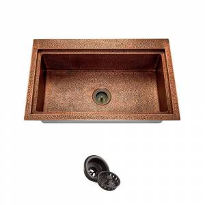 MR Direct Dualmount Copper 31-1/2 in. Single Bowl Kitchen Sink with Strainer, Brown