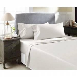 PERTHSHIRE Hotel Concepts 4-Piece Ivory Solid 1500 Thread Count Cotton King Sheet Set