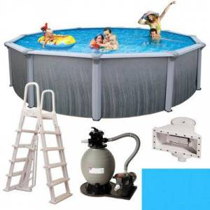 Blue Wave Martinique 18 ft. Round x 52 in. Deep Metal Wall Above Ground Pool Package with 7 in. Top Rail, Gray