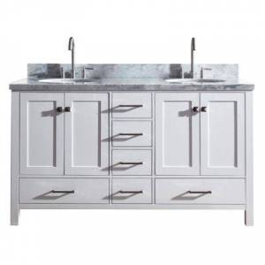 Ariel Cambridge 61 in. Bath Vanity in White with Marble Vanity Top in Carrara White with White Basins