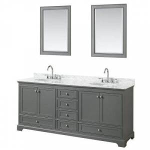 Wyndham Collection Deborah 80 in. Double Vanity in Dark Gray with Marble Vanity Top in White Carrara with White Basins and 24 in. Mirrors