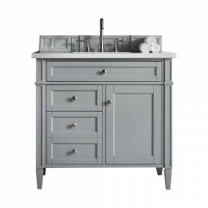 James Martin Vanities Brittany 36 in. W x 23.5 in. D Single Bath Vanity in Urban Gray with Quartz Vanity Top in Classic White with White Basin