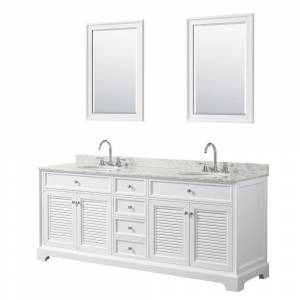 Wyndham Collection Tamara 80.5 in. Double Vanity in White with Marble Vanity Top in White Carrara with White Basins and 24 in. Mirrors
