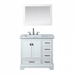 stufurhome Newport 36 in. W x 22 in. D Vanity in White with Marble Vanity Top in Carrara White and Mirror