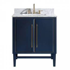 Avanity Mason 31 in. W x 22 in. D Bath Vanity in Navy Blue/Gold Trim with Marble Vanity Top in Carrara White with White Basin
