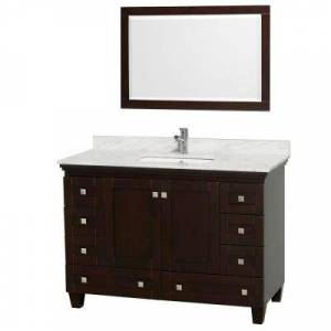 Wyndham Collection Acclaim 48 in. Vanity in Espresso with Marble Vanity Top in Carrara White, Square Sink and Mirror